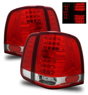 Lincoln Navigator 2003-2006 Red and Clear LED Tail Lights