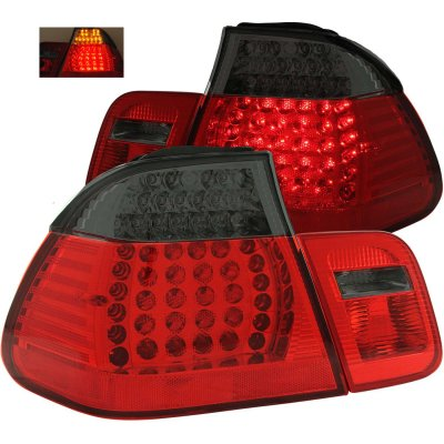 BMW 3 Series Sedan 1999-2001 Red and Smoked LED Tail Lights