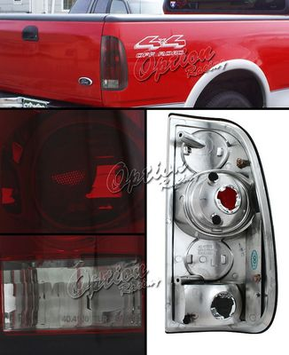 Ford F250 1999-2007 Red and Clear Smoked Altezza Tail Lights