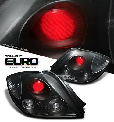 Hyundai Tiburon 2003-2006 Black Altezza Tail Lights