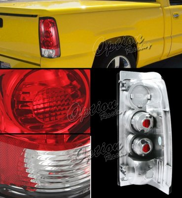 GMC Sierra 1999-2002 Red and Clear Altezza Tail Lights