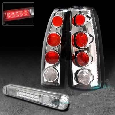 Chevy 3500 Pickup 1988-2000 Clear Tail Lights and LED Third Brake Light