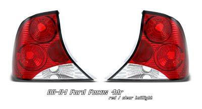 Ford Focus Sedan 2000-2004 Red and Clear Altezza Tail Lights