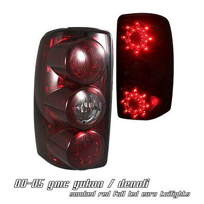 GMC Yukon Denali 2001-2006 Red Smoked LED Tail Lights