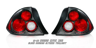 Honda Civic Coupe 2001-2003 Black Altezza Tail Lights