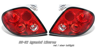 Hyundai Tiburon 2000-2002 Red and Clear Altezza Tail Lights