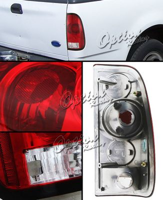 Ford F150 1997-2003 Red and Clear Tail Lights