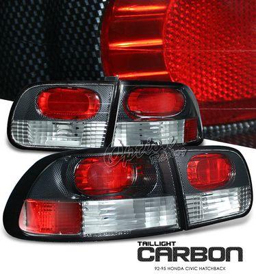 Honda Civic Hatchback 1992-1995 Carbon Fiber Euro Tail Lights