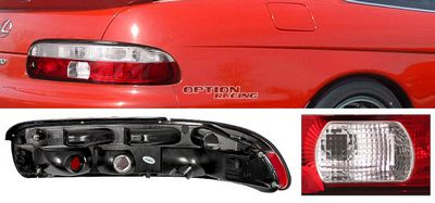 Lexus SC300 1995-1999 Red and Clear Euro Tail Lights