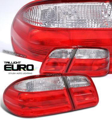 Mercedes Benz E Class 1996-2002 Red and Clear Euro Tal Lights