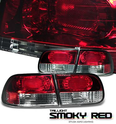 Honda Civic Hatchback 1992-1995 Smoked Red Euro Tail Lights