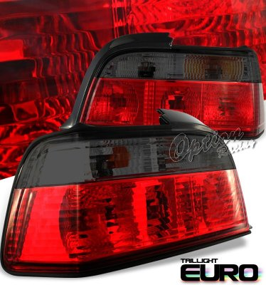 BMW 3 Series Coupe 1992-1998 Euro Tail Lights Red and Smoked
