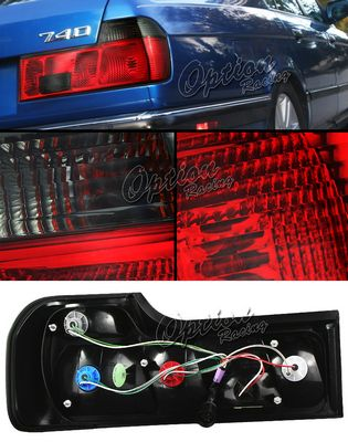 BMW E32 7 Series 1988-1993 Red and Smoked Euro Tail Lights
