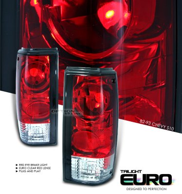 Chevy S10 1982-1993 Red and Clear Altezza Tail Lights