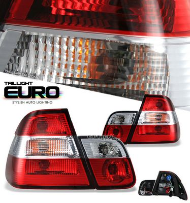 BMW E46 Sedan 3 Series 1999-2001 Red and Clear Euro Tail Lights