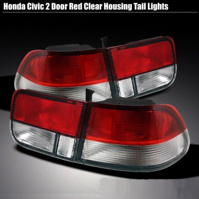 Honda Civic Coupe 1996 2000 Red And Clear Euro Tail Lights