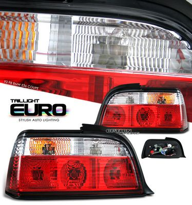 BMW E36 Coupe 3 Series 1992-1998 Red and Clear Euro Tail Lights