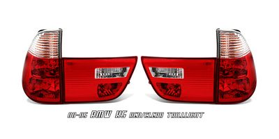 BMW X5 2000-2006 Red and Clear Euro Tail Lights