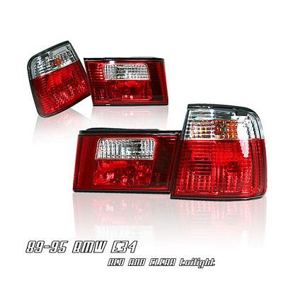 BMW E34 5 Series 1989-1994 Red and Clear Euro Tail Lights