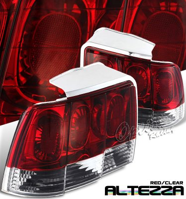 Ford Mustang 1999-2004 Red and Clear Euro Tail Lights