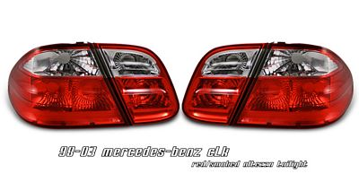 Mercedes Benz CLK 1998-2003 Red and Smoked Euro Tail Lights