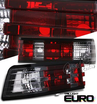 Mercedes Benz C Class 1982-1993 Red and Clear Euro Tail Lights