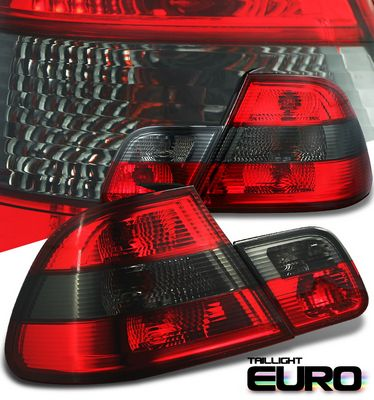 BMW E46 Coupe 3 Series 1999-2002 Red and Smoked Euro Tail Lights