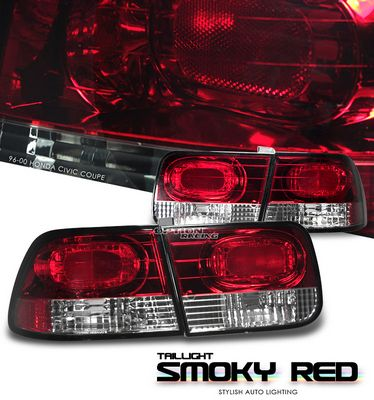 Honda Civic Coupe 1996-2000 Red and Clear Euro Tail Lights
