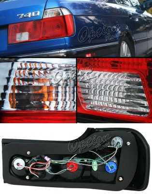 BMW E32 7 Series 1988-1993 Red and Clear Euro Tail Lights
