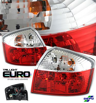 Audi A4 2002-2005 Depo Red and Clear Euro Tail Lights