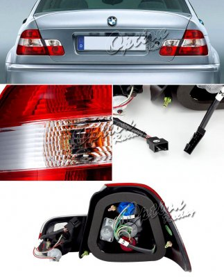 BMW E46 Coupe 3 Series 1999-2002 Red and Clear Euro Tail Lights