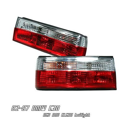 BMW E30 3 Series 1982-1987 Red and Clear Euro Tail Lights