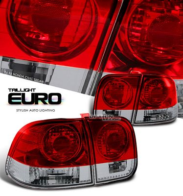 Honda Civic Sedan 1996-1998 Smoked Red Euro Tail Lights