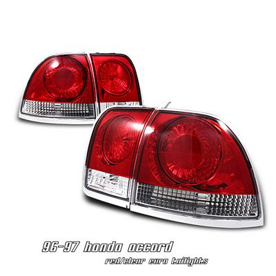 Honda Accord 1996 1997 Red And Clear Euro Tail Lights