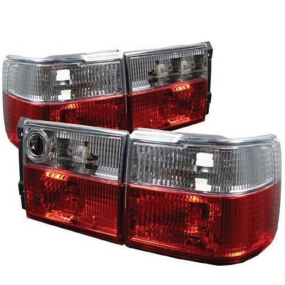 VW Jetta 1993-1998 Red and Clear Euro Tail Lights