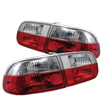 Honda Civic Hatchback 1992-1995 Red and Clear Euro Tail Lights