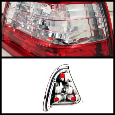 Mercedes Benz C Class 1994-2001 Red and Clear Euro Tail Lights