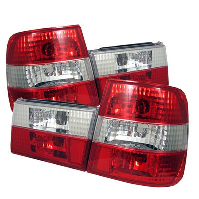 BMW E34 5 Series 1988-1995 Red and Clear Euro Tail Lights