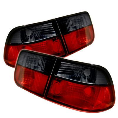 Honda Civic Coupe 1996-2000 Red and Smoked Euro Tail Lights