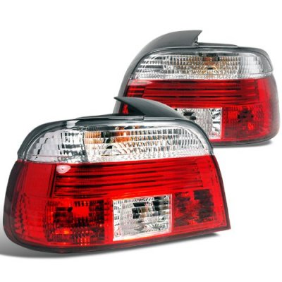 BMW E39 5 Series 1997-2000 Red and Clear Euro Tail Lights