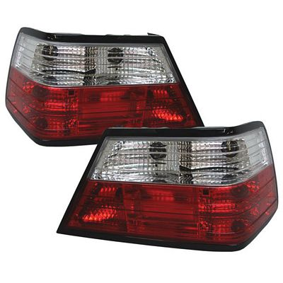 Mercedes Benz E Class 1986-1995 Red and Clear Euro Tail Lights