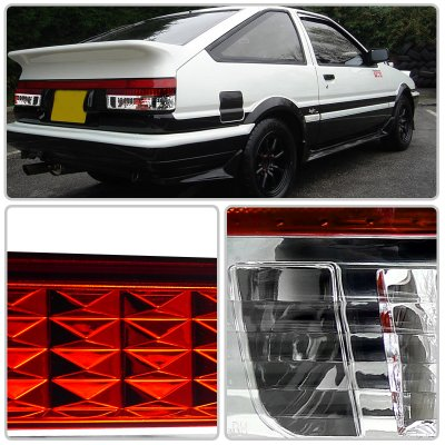 1983 Toyota Corolla AE86 Red and Clear Euro Tail Lights