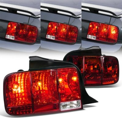 Ford Mustang 2005-2009 Red Euro Tail Lights Sequential