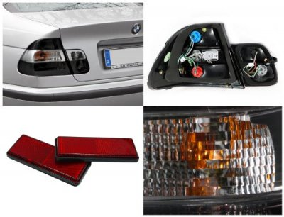 BMW 3 Series Sedan 1999-2001 Euro Tail Lights Smoked