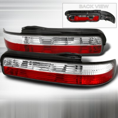 Nissan 240SX Coupe 1989-1994 Red and Clear Euro Tail Lights