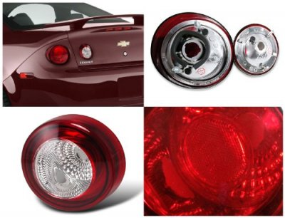 Chevy Cobalt Coupe 2005-2010 Red and Clear Euro Tail Lights