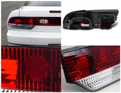 Nissan 240SX Hatchback 1989-1994 Tail Lights Red and Clear