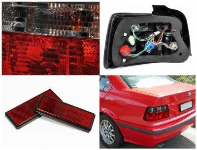 BMW 3 Series Sedan 1992-1998 Euro Tail Lights Red and Smoked