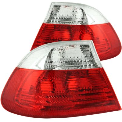 BMW 3 Series Coupe 1999-2001 Red and Clear Euro Tail Lights