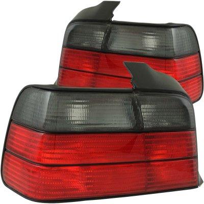 BMW 3 Series Sedan 1992-1998 Red and Smoked Euro Tail Lights